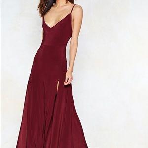 Burgundy Maxi Dress with Slits
